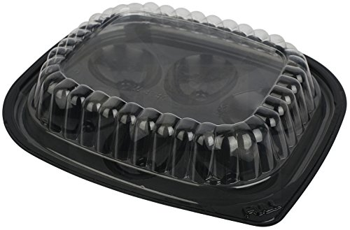 (Plastic Disposable Deviled Egg Trays with Lids Black/Clear - Set of 12 Trays and 12)