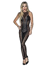 Black Leather Sexy Jumpsuit Women Skinny Lace Mesh Patchwork Bodysuit Latex Catsuit Fetish Wear Sexy Pole Dance Clothing