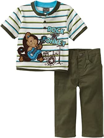 Little Rebels Baby Boys Stripe Monkey Knit Top And Pant Set, Green, 18 Months