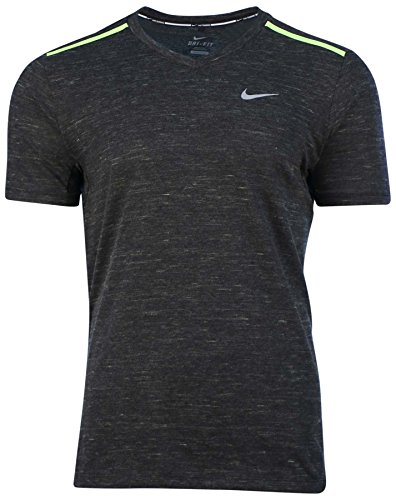 Nike Men's Dri-Fit Neon V-Neck Running T-Shirt-Black/Volt-Large