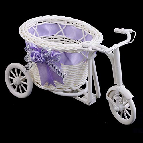 Price comparison product image FayOK Rattan Tricycle Bike Basket Party Wedding Decor Gift Home Decor