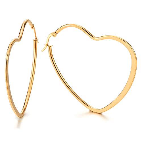 Pair Stainless Steel Gold Color Flat Heart Huggie Hinged Hoop Earrings for Women Girls