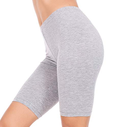 MANCYFIT Short Leggings for Women Slip Shorts Mid Thigh Legging Plus Size Undershorts Flat Gray Small