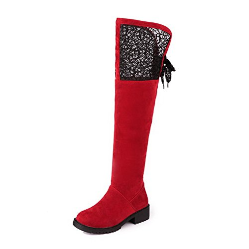 AmoonyFashion Womens Round Closed Toe Low heels PU Solid Boots with Hollow Out Red uoHeL6RrP