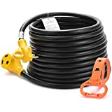 MICTUNING Heavy Duty 30 Amp RV Extension Cord with Handle and Cord Organizer - 30 Feet, 10 Gauge, 125V/3750W