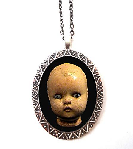 Doll Head Necklace Pendant Victorian Goth Creepy