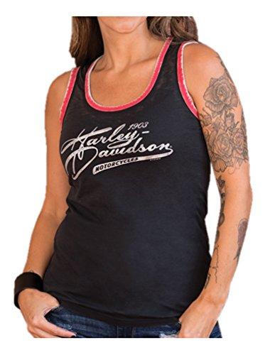 Harley-Davidson Women's Metallic Titanium Sleeveless Tank Top, Black/Red (XL)