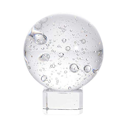 LONGWIN 2 Inch Crystal Bubbles Ball Glass Decorative Balls with Stand (Decorative Solid Balls Glass)