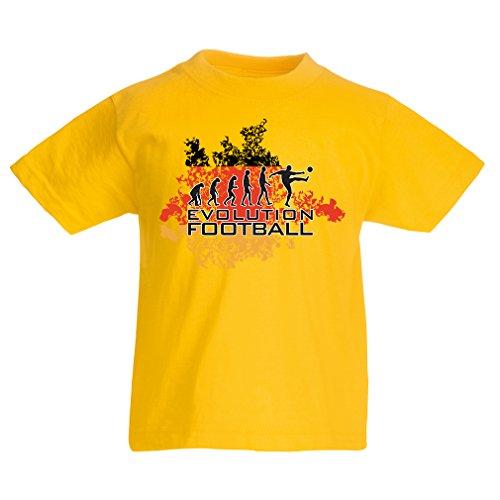 Kids Boys/Girls T-Shirt Football Evolution - Germany, Russia Championship 2018, World Cup Soccer German Team Fan Shirt (12-13 Years Yellow Multi Color) (Germany Mini Soccer Ball)