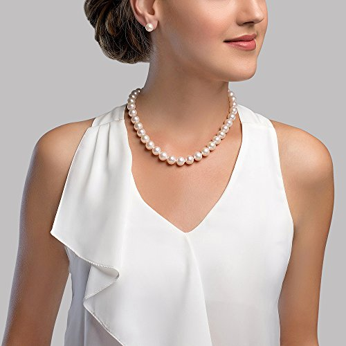 How To Wear Pearl Necklace. The Pearl Source 10-11mm AAA Quality Round White Freshwater Cultured Pearl Necklace for Women in 16