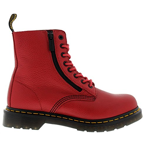 Dr.Martens Womens Pascal W/Zip 8-Eyelet Red Leather Boots 8.5 (8 Eyelet Leather)