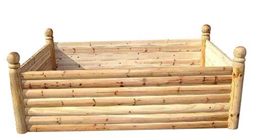 (Master Garden Products Cedar Log Wood Raised Bed, 6 Posts, 4'W x12'L x 2'H)