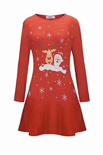 Abiti Mini Pannello Lunga Santa Casuali Donne Rosso Natale Esterno Una Linea Manica Di Tunica Camicia Delle Alce HprvOH