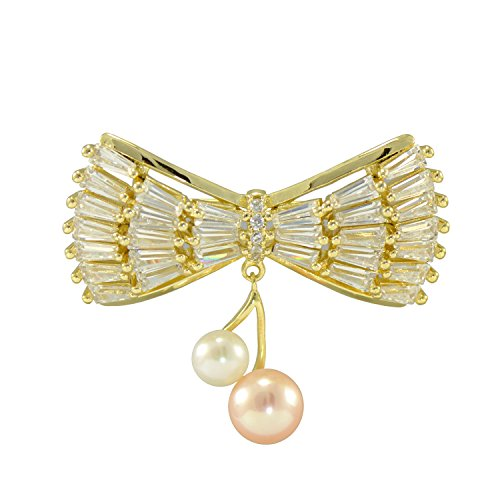 Brooch Pearl Gold Cultured (Paialco Cultured Freshwater Pearl Bowknot Brooch Brass Metal Yellow Gold Flashed)