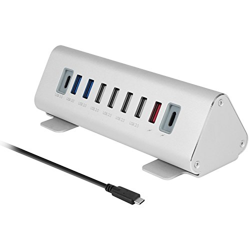 Macally Ultimate 9-Port Powered USB-C Hub & Charging Station | Universal High-Speed Data Transfer & Quick Charging Multiport Type C Hub Charger | Smart Charging Technology & Aluminum Triangle Design by Macally