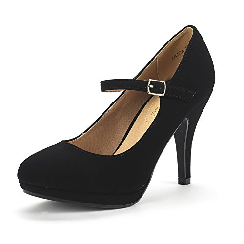 DREAM PAIRS Damen LILICA Mary-Jane Close Toe Stilleto Platform Pumps Schuhe Schwarzes Nubuk