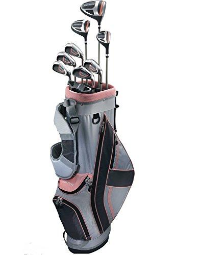 Top-Flite Golf Women's XL 12 Piece Complete Box Bag Set Right Hand Gray Pink (Petite) (Flite Top Drivers)