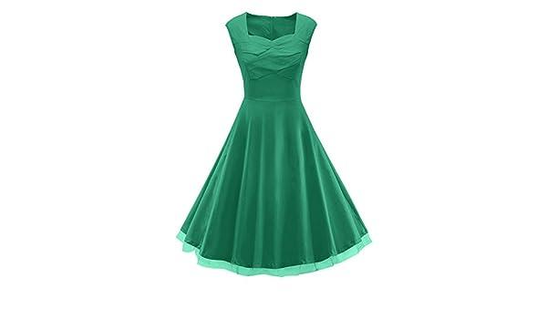 Las mujeres Vestidos Largos de Fiesta Cuello V de Verano sin Mangas de la vendimia años 50 M Verde: Amazon.es: Ropa y accesorios
