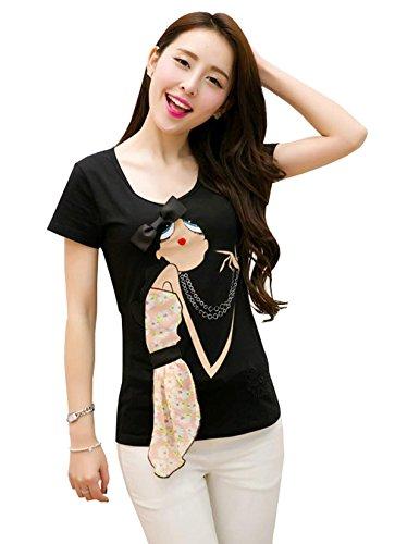 Zeagoo Women's Fashion Short Sleeve O-Neck Slim Embroidery Casual Bow T-Shirt