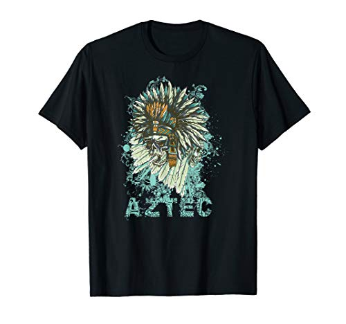 - Aztec Skull Tribal Mexican Art Sun Stone T-Shirt