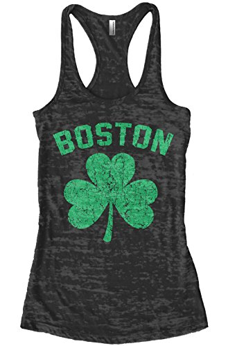 Threadrock Women's Green Boston Shamrock Burnout Racerback Tank Top L (Boston Womens Tank Top)