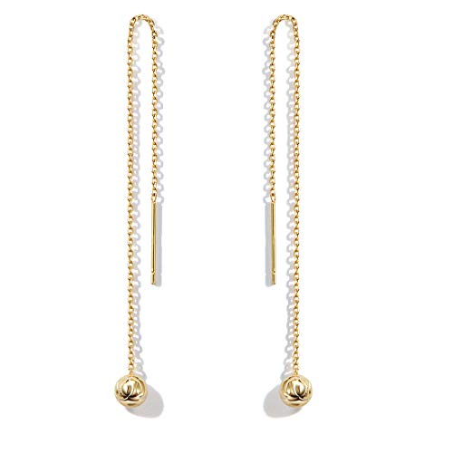 FANCIME Yellow Gold Plated 925 Sterling Silver Threader Chain Tassel Drop Tiny Ball Minimalism Earrings For Women Girls ()