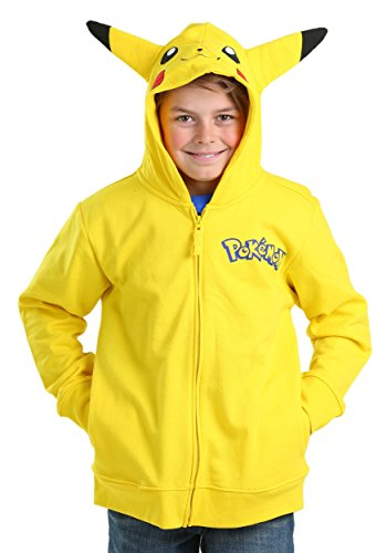 Pokemon Hoodies With Ears (Pokemon Big Boys Pikachu Costume Hoodie, Yellow, Medium-10/12)