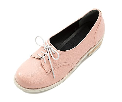 LeBunny Bleu Women's Pastel Wood Heeled Oxfords, Pink Leatherette, - Oxford Pastel