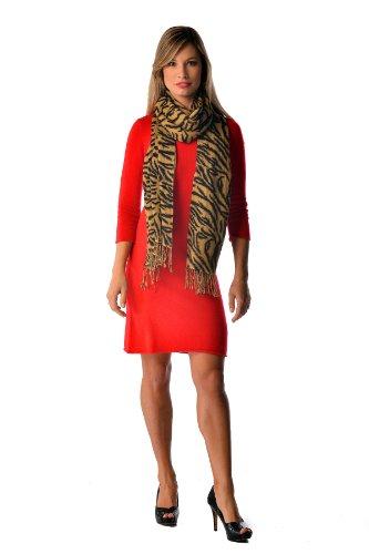 """Cashmere Boutique: Tiger Print Cashmere Wrap Stole (Color: Tiger Print, Size: 28"""" x 80"""")"""