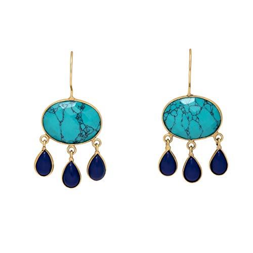 Gorgeous Turquoise & Lapis Lazuli Teardrop 18k Gold Plated Earrings