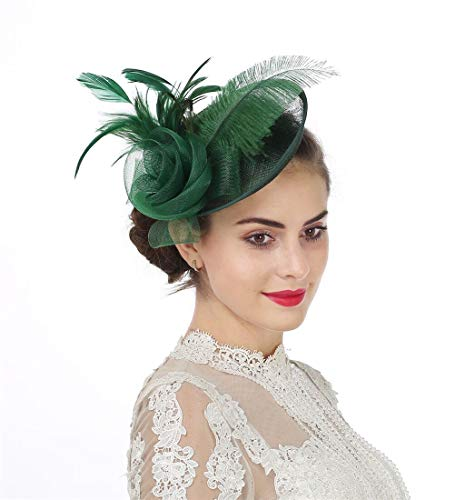 - SAFERIN Fascinators Hat Flower Mesh Feathers Sinamay Cocktail Church Tea Party Headwear for Girls and Women (TA4-Green)