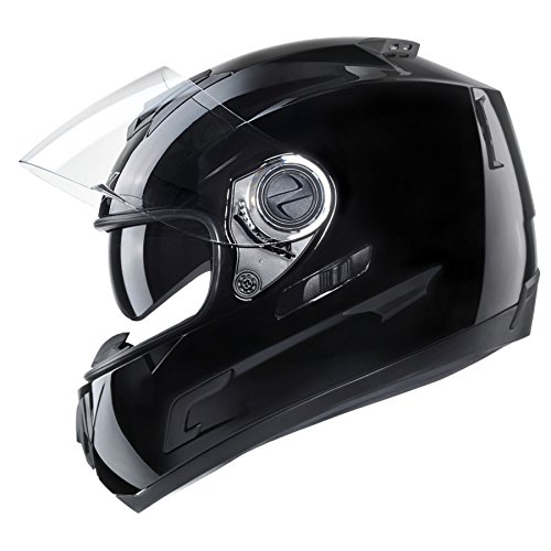 GLX Full Face Motorcycle Street Bike Helmet Solid Dual Visor DOT Approved + 2 Shields (Gloss Black, X-Large) (Dot Approved Gloss)