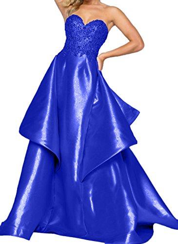 Abschlussballkleider Partykleider Herzausschnitt Royal Charmant Damen Blau Traegerlos Lang Abendkleider Fuchsia qq1FY