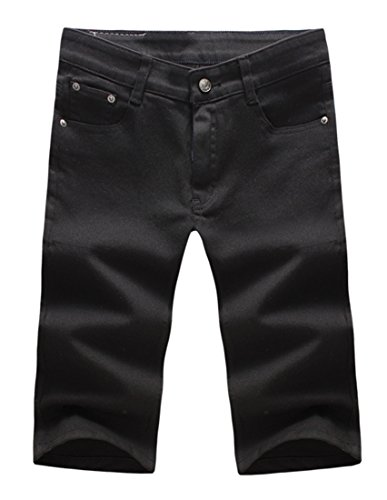 Grimgrow Men's Casual Loose Straight Denim Shorts Comfy Lightweight Athletic Short Jeans Black