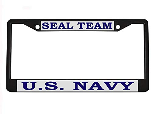 Teisyouhu US Navy Seal Team Silver Blue Car Chrome Plate License Cover Border Frames New Plate Tag Sign for Men Women