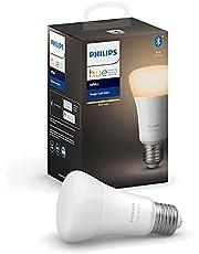 Philips Hue Philips E27 Hue White LED Smart Bulb, Bluetooth & Zigbee Compatible (Hue Hub Optional), Compatible with Alexa & Google Assistant