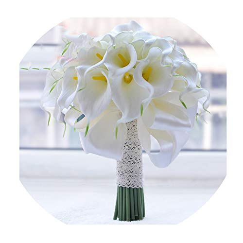 - Waterfall Red Wedding Flowers Bridal Bouquets Artificial Pearls Crystal Wedding Bouquets Bouquet Rose,White Calla Lily