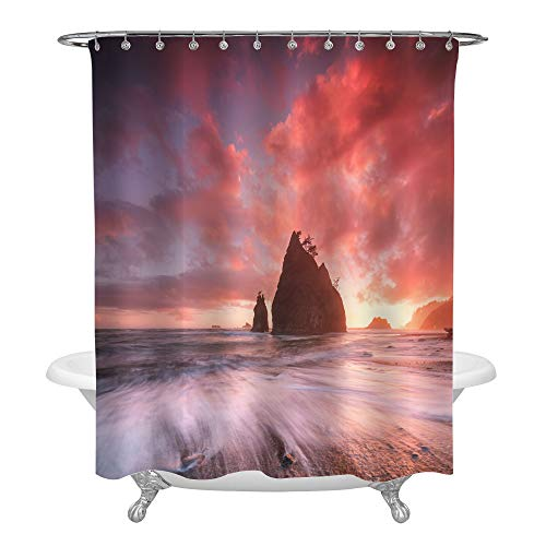 (Coastline with Sea Stacks in Sunset Time Shower Curtain with Red and Purple Light, Rialto Beach in Olympic National Park Art Print Photo Bathroom Accessories for Ocean Themed Home Decor, 72 x 78, Pink )