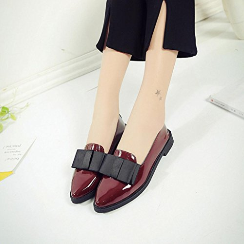 Oxford Casual Besde Shoes Flat Women Wine Shoes Pointed Comfortable Slip Toe wqtXrt6A