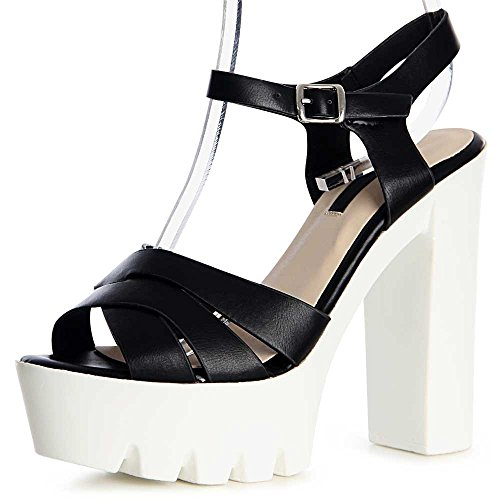mujer negro Zapatos topschuhe24 vestir de para w7aI4Sq