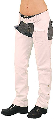 Jamin' Leather White Leather Chaps w/Adjustable Back & Thigh Lacing (XL)