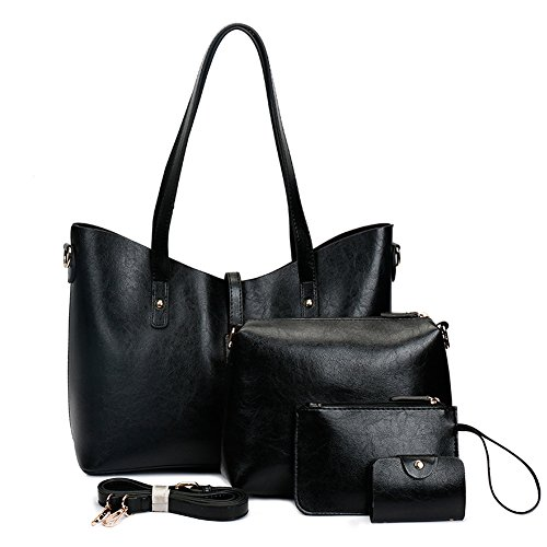 Leather Tote Bag for Women Purses Set Large Black Shoulder Bags 4pcs Top Handle Satchel Handbags (Black-2) by YP
