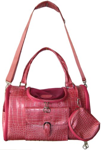 Pink Fashion Faux Crocodile Pet Carrier/Tote/Shoulder
