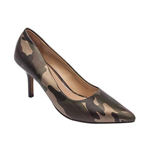ty Toe Mid Heel Stiletto Pump Square Topline Camo Print Leather 9M ()