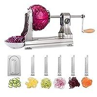 WellToBe Spiralschneider Spirali mit 6 Klingen und 4 Saugnapf für Spiralen Veg Pasta, Hand Gemüse Spiralschneider Für Karotte,Gurke,Kartoffel,Kürbis,Zucchini
