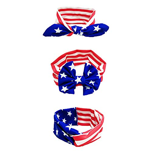 USA Flag National Day Stars & Stripes Twisted Head Hair Wrap Rabbit Ear Headband for Baby Infant Bowknot Hair Accessories 3Pcs/lot