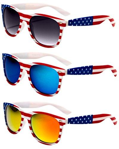 V.W.E. White Classic American Patriot Flag Wayfarer Style Sunglasses USA . (White, All 3 - Wayfarers Flag American