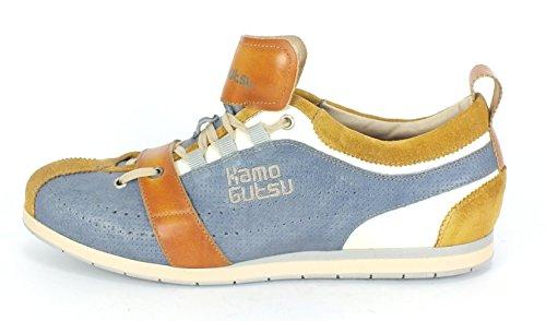 Kamo-gutsu 10106 Sneaker Allacciata In Pelle Da Uomo Ocra Zuccero Sienna