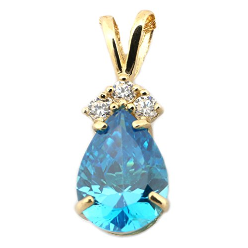 Pear Pendant Necklace - 14k Yellow Gold Simulated Blue Topaz and Cubic Zirconia Pear Cut Pendant Necklace - pendant only