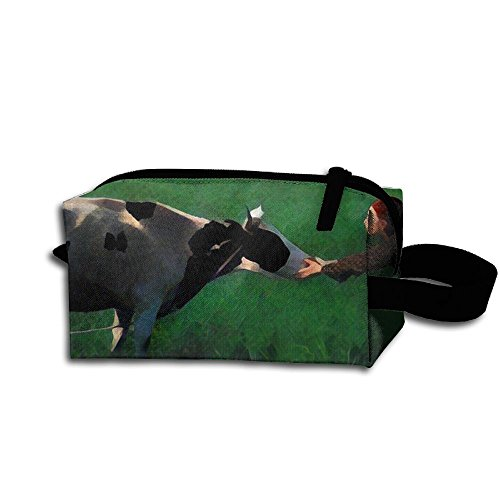 Makeup Cosmetic Bag Girl And Cow Zip Travel Portable Storage Pouch For Mens Womens